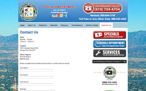 Screenshot of Contact Page allfourseasons.com - Contact Us : All Four Seasons A/C & Heating, Inc. - captured Oct. 4, 2014
