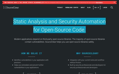 SourceClear: Static Analysis and Security Automation for Open-Source Code