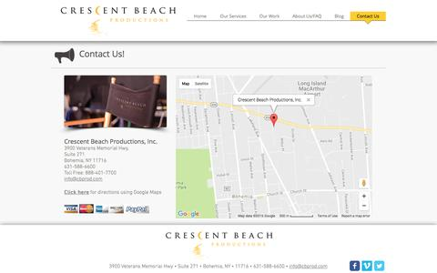 Screenshot of Contact Page Maps & Directions Page cbprod.com - Crescent Beach Productions - Long Island Video Production Company   Contact Us - captured Nov. 14, 2016