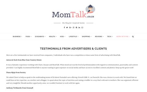 Screenshot of Testimonials Page momtalk.co.za - Testimonials from Advertisers - captured Sept. 24, 2018