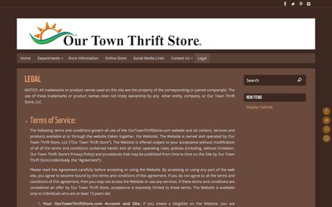 Screenshot of Terms Page ourtownthriftstore.com - Legal – Our Town Thrift Store - captured Feb. 16, 2016