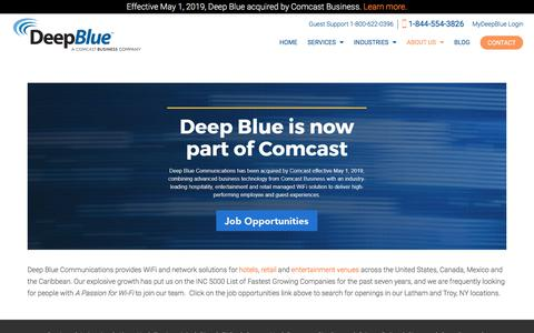 Screenshot of Jobs Page deepbluecommunications.com - Job Opportunities at Deep Blue Communications, a Comcast Business Company - captured July 21, 2019