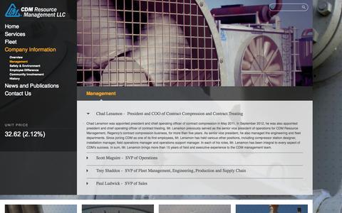 Screenshot of Team Page cdmrm.com - Regency CDM > Company Information > Management - captured Oct. 1, 2014