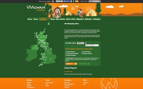 Screenshot of Locations Page wigwamholidays.com - Glamping UK | Find a Site Near You | Wigwam Holidays - captured Oct. 9, 2014