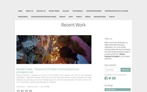 Screenshot of Press Page esthercommunityenterprise.co.uk - Recent Work | - captured Sept. 28, 2018