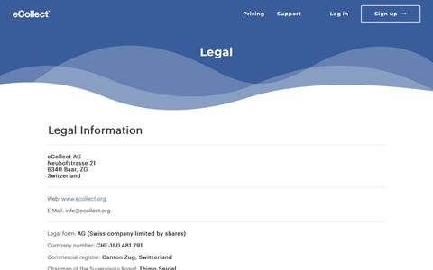 Screenshot of Terms Page ecollect.org - Legal   eCollect.org - captured July 24, 2018