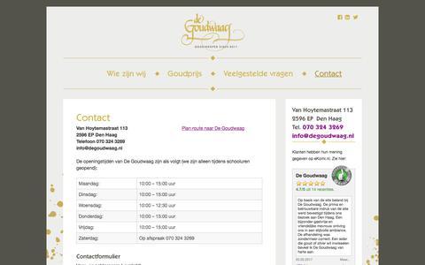 Screenshot of Contact Page degoudwaag.nl - De Goudwaag Den Haag - Openingstijden contactgegevens (adres telefoon) - captured June 4, 2017