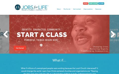 Screenshot of Home Page jobsforlife.org - Jobs for Life� - captured Jan. 9, 2016