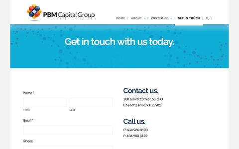 Screenshot of Contact Page pbmcap.com - Get in Touch   PBM Capital Group - captured Sept. 25, 2018