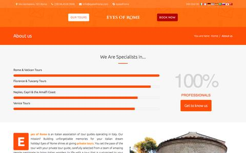 Screenshot of About Page eyesofrome.com - Expert tour guides in Rome - captured July 23, 2018