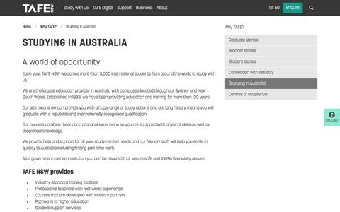 Studying in Australia - Enrolment and Study - TAFE NSW