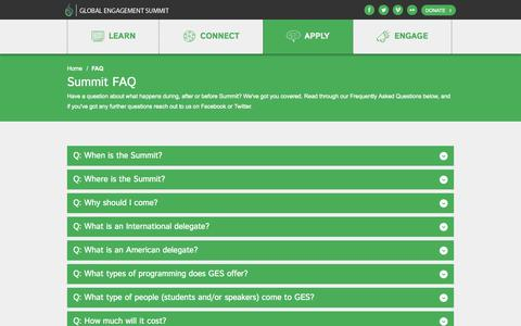 Screenshot of FAQ Page theges.org - Global Engagement Summit | FAQ - captured Oct. 2, 2014