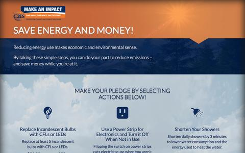 Screenshot of Landing Page c2es.org - Carbon Footprint Calculator Powered by Make an Impact - captured June 2, 2016