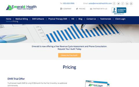 Screenshot of Pricing Page emeraldhealthllc.com - EMR Billing Services - Emerald Health LLC - captured July 18, 2018