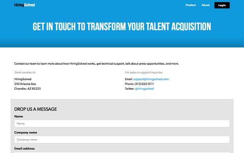 Screenshot of Contact Page hiringsolved.com - Contact | HiringSolved - captured April 8, 2018