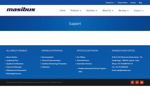 Screenshot of Support Page masibus.com - Support | Masibus Automation And Instrumentation - captured Oct. 17, 2017