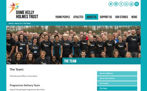 Screenshot of Team Page damekellyholmestrust.org - The Team | Dame Kelly Holmes Trust - captured July 31, 2016
