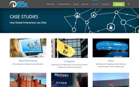Screenshot of Case Studies Page dtexsystems.com - Case Studies - Dtex Systems - captured June 5, 2017