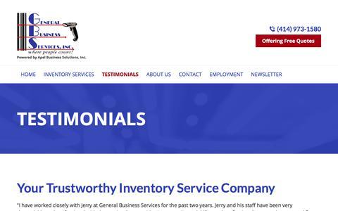 Screenshot of Testimonials Page countinv.com - Inventory Service Company, Inventory Crew | Menomonee Falls, WI - captured July 24, 2017