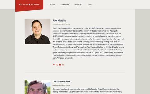 Screenshot of Team Page bullpen-capital.com - People – Bullpen Capital - captured Oct. 30, 2014