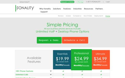 Screenshot of Pricing Page fonality.com - Business Phone Services Pricing | Fonality - captured March 2, 2016