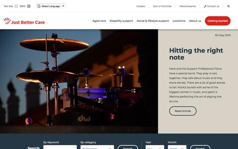 Screenshot of Press Page justbettercare.com - Just Better Care | News and events - captured Oct. 12, 2019