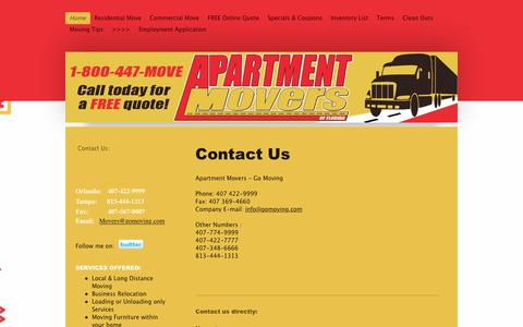 Screenshot of Contact Page myapartmentmovers.com - Apartment Movers Orlando, Longwood, Winter Park, Altamonte Springs - Orlando Apartment Movers - captured Oct. 3, 2018