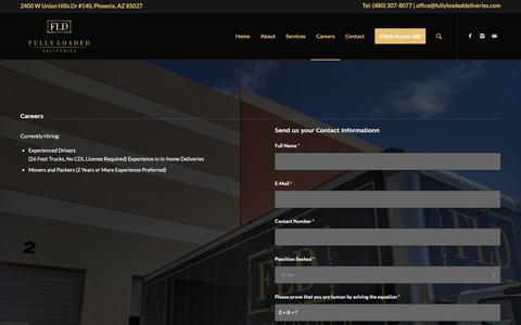 Screenshot of Jobs Page fullyloadeddeliveries.com - Careers – Fully Loaded Deliveries - captured Nov. 6, 2018
