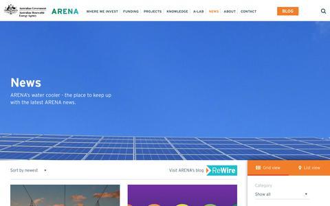 Screenshot of Press Page arena.gov.au - News - Australian Renewable Energy Agency - captured June 27, 2017