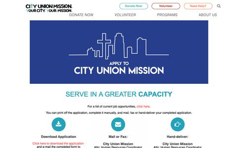 Screenshot of Jobs Page cityunionmission.org - Employment Opportunities | Application Process | City Union Mission - captured Nov. 4, 2018