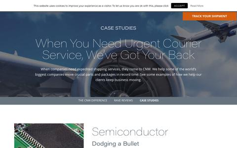 Screenshot of Case Studies Page cnwglobal.com - Premier Urgent Courier Service   Expedited Shipping Services Case Studies - captured Sept. 25, 2018