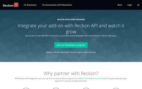 Screenshot of Developers Page reckon.com - API Integration for Add-ons | Reckon Developer Program - captured Nov. 14, 2017
