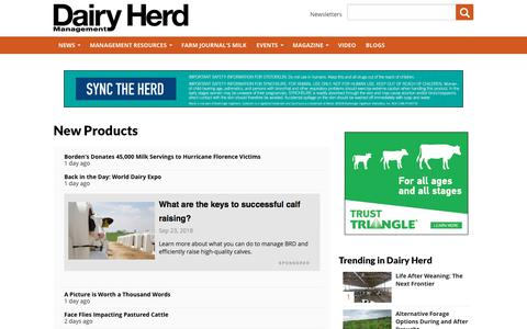 Screenshot of Products Page dairyherd.com - New Products | Dairy Herd Management - captured Sept. 23, 2018