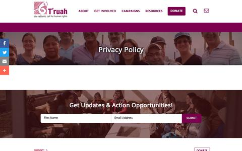 Screenshot of Privacy Page truah.org - Privacy Policy | T'ruah - captured Oct. 25, 2017