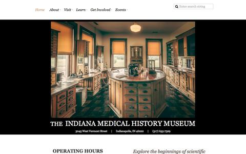 Screenshot of Home Page imhm.org - Indiana Medical History Museum - Home - captured Sept. 12, 2015