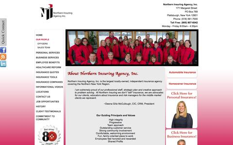 Screenshot of Team Page northerninsuring.com - About Northern Insuring Agency, Inc. - captured Oct. 7, 2014