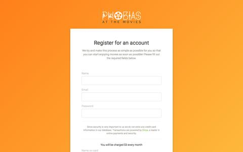 Screenshot of Signup Page phobiasatthemovies.com captured July 13, 2016