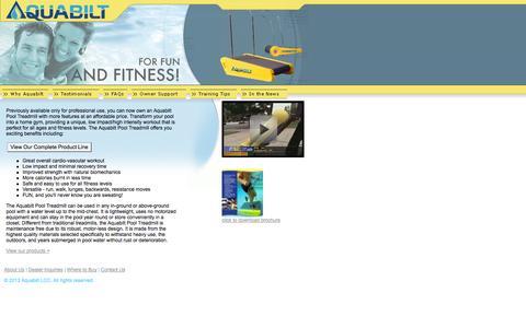 Screenshot of Home Page aquabilt.com - Aquabilt: Aquatic Treadmills - For Fun and Fitness! - captured Sept. 30, 2014