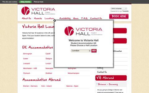 Screenshot of Locations Page victoriahall.com - Victoria Hall Locations @ Victoria Hall Student AccommodationVictoria Hall Student Accommodation - captured Oct. 9, 2014