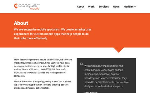 Screenshot of About Page conquermobile.com - Mobile App Development Vancouver | Conquer Mobile - captured Nov. 2, 2014