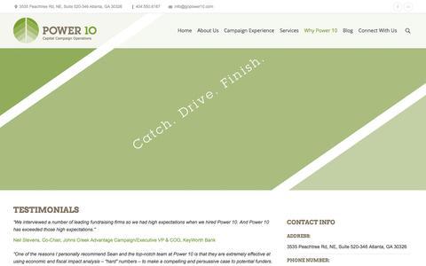Screenshot of Testimonials Page gopower10.com - Testimonials | Power 10 Fundraising - captured Oct. 2, 2014
