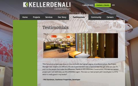 Screenshot of Testimonials Page kellerdenali.com - Testimonials • KELLERDENALI Construction - captured Oct. 6, 2014