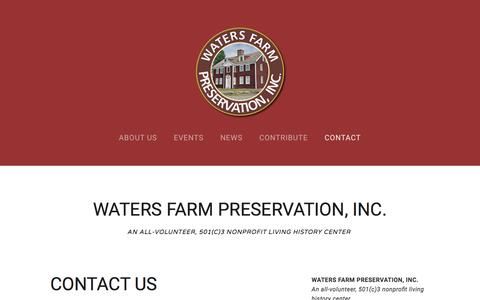 Screenshot of Contact Page watersfarm.org - Contact — WATERS FARM - captured July 3, 2018