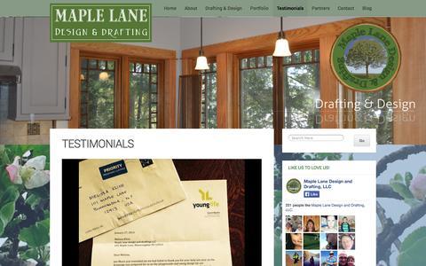 Screenshot of Testimonials Page maplelanedesign.com - Drafting and Design Testimonials | Maple Lane Design and Drafting - captured Oct. 27, 2014