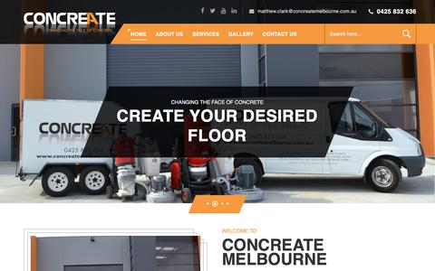 Screenshot of Home Page concreatemelbourne.com.au - PolishedConcreteFloors&ConcretingMelbourne Concreate - captured July 15, 2016