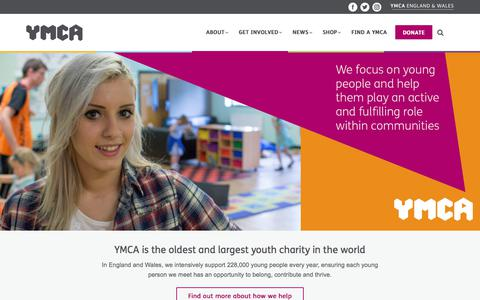Screenshot of Home Page ymca.org.uk - YMCA England & Wales - Inspiring young people to reach their full potential - captured July 2, 2017