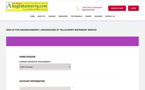 Screenshot of Signup Page anugrahamarry.com - Anugrahamarry  | Archdiocese of Tellicherry Matrimony Service- Register in Syro-Malabar Matrimony - Catholic Matrimony, Christian Matrimony, Kerala Catholic Matrimonial - captured Jan. 31, 2018