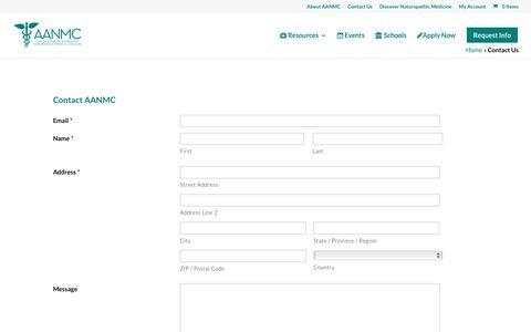 Screenshot of Contact Page aanmc.org - Contact Us | AANMC - captured Nov. 21, 2016