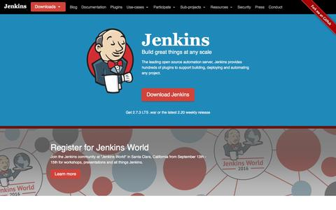 Screenshot of Home Page jenkins.io - Jenkins - captured Sept. 1, 2016
