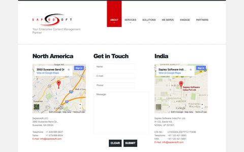 Screenshot of Contact Page Locations Page sapieosoft.com - Contacts - captured Oct. 23, 2014